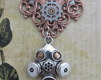 "Steampunk  ""Bio-Mechanic"" Silver and Copper Gas Mask Chest Medal"