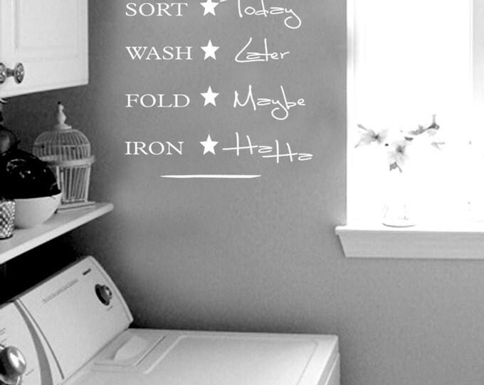 Laundry Schedule sort wash fold iron Wall Decal Vinyl sticker home decor shower door toilet bath towel soap quote lettering bathroom