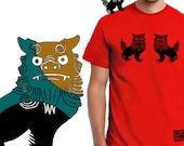 SHISA シーサー - Unique gift Tshirt for men / Lion tshirt - Unique t shirt japanese screen print - FREE SHIPPING