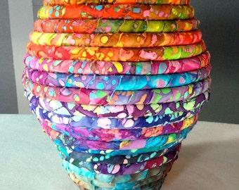 Batik Fabric Coiled Pot