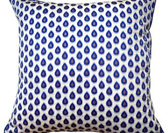 Blue Dew Drops Cushion Cover