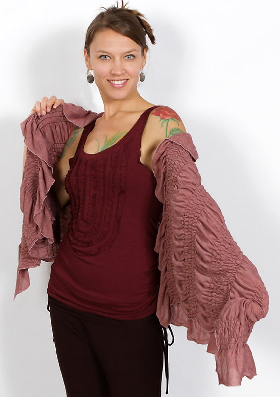Spring Sale! Ruched Ruffle Shawl in Dusty Rose