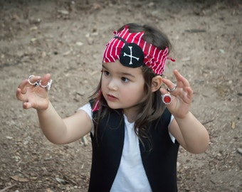 Pirate Costume (Girl), 5-piece set with a skirt