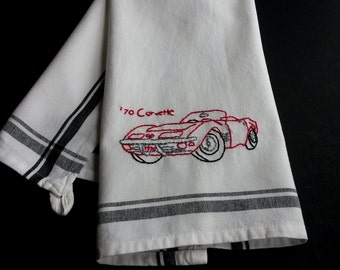 Red Corvette, embroidered classic car, 70s Corvette, hand embroidered classic car, vintage car,father day gift, man cave gift,man cave decor