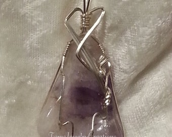 Banded Amethyst Gemstone Wire Wrapped Pendant