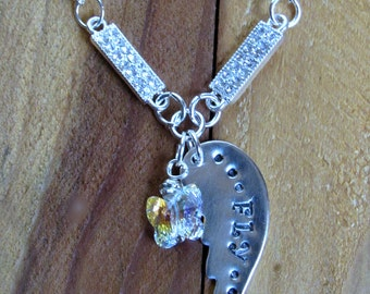 Sterling Silver Wing Hand Stamped Necklace Fly