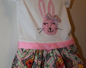 Upcycled Bunny Dress, Osh Kosh size 12 months