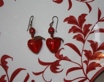 Red Glass Heart Earrings