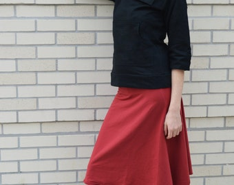 Bell Skirt- convertible skirt/dress - roll over waist skirt - organic cotton skirt