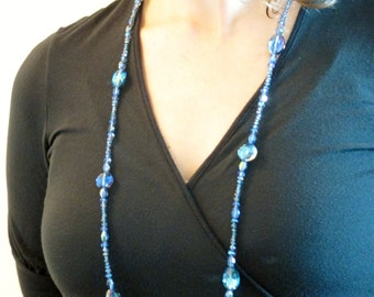 Midnight Blue Grey Aurora Borealis treated Glass crystal Long Necklace, Midnight Blue Grey Flapper Necklace