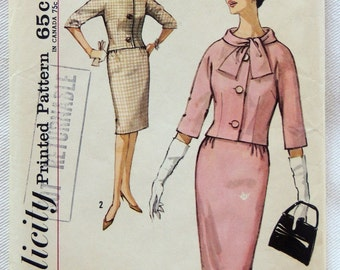 Simplicity Pattern 4770 -  1960s Misses' Suit with Kimono Sleeves Lined Jacket and Pencil Skirt - Size 15 - Bust 35
