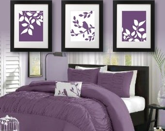 Purple bedroom decor | Etsy