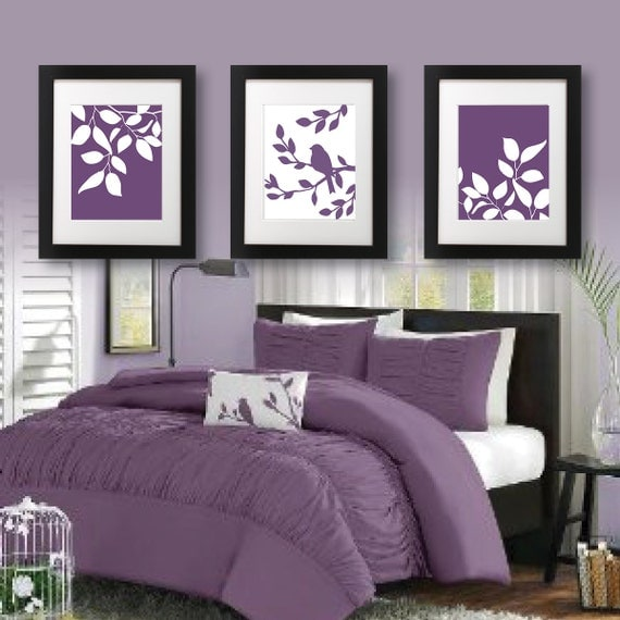 Master Bedroom Art Print Purple Bedroom By RhondavousDesigns2