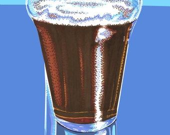 "Brown Ale Pint- 11""x17"" digital print on 80lb cardstock-craft beer art print"