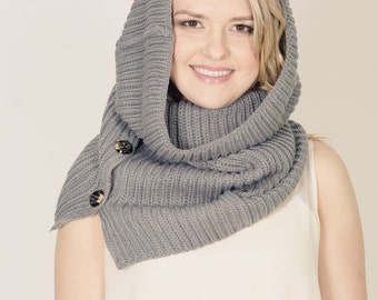 Knitted Neck Warmer and cowl with buttons. Grey