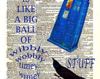 Dr Who tardis,whovian,instant download,Tardis poster,8.5x11,Dr Who quote,dictionary print quotes,time,stuff,home decor,wall art,blue,yellow