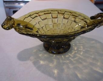Green Glass Basket, Vintage. 1950's