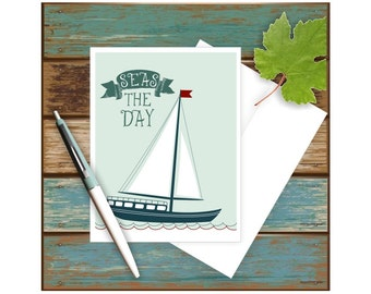 Seas the Day Card, Sailboat Card, Nautical Stationery, Nautical Thank Notes, Funny Pun Art, Blank Note Cards, Masculine Card, Seize the Day