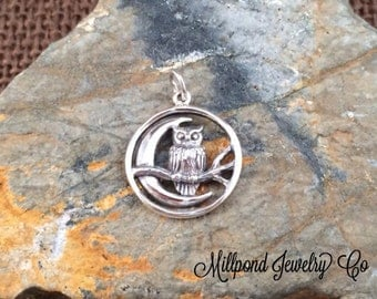 Owl Charm, Owl and Moon Charm, Sterling Silver Owl and Moon Charm, Moon Charm, Moon Pendant, Owl Pendant, PS0164