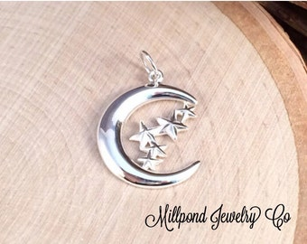 Moon and Star Charm, Moon Pendant, Celestial Charm, Moon and Star Pendant, Sterling Silver, Necklace Charm, Necklace Pendant