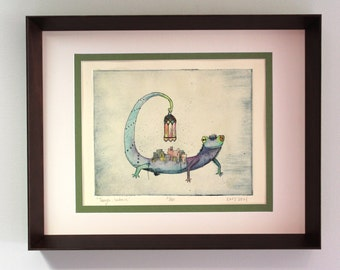 "Hand Painted Framed Intaglio Print ""Tangle, Unknit"""