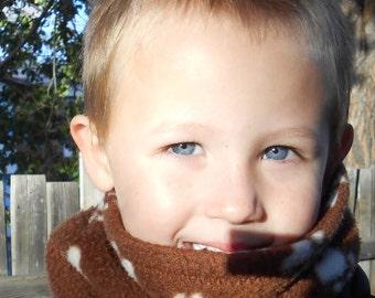 Youth fleece neck warmer; reversible tube scarf; child neckwarmer gaiter; ski, snowboard & play outside