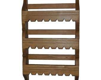Handmade Southwestern pine spice rack with 3 shelves and traditional Spanish design accents.