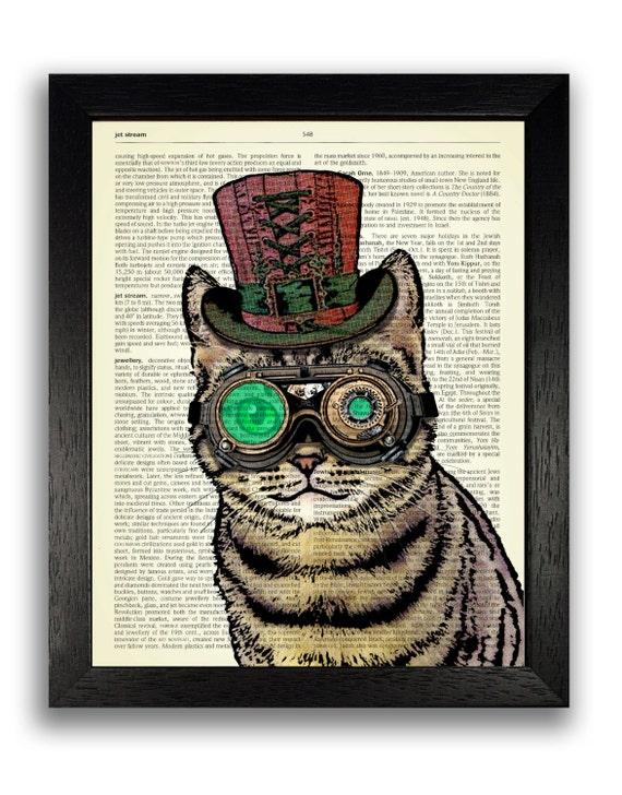 STEAMPUNK ART PRINT Steampunk Cat Decor Steampunk Decor Cat