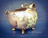 Teapot with Feet & Personality / Fine porcelain gold trimmed footed teapot / Hand-painted floral teapot for two