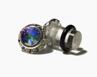 7/16 00g 0g 2g 4g 6g 8g Silver AB Crystal PLUGS Made With Swarovski Elements Wedding Bridal Plugs Gauges Tunnels Bridesmaid