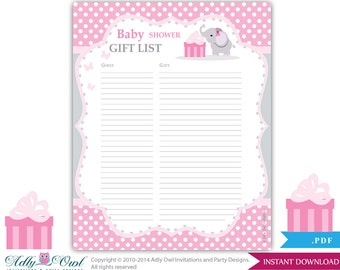 elephant guest gift list guest sign in sheet card for baby shower