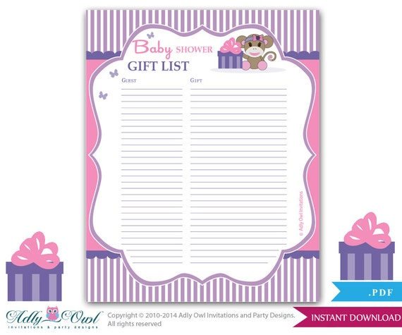 Birthday Sign Ups: Items Similar To Girl Monkey Guest Gift List , Guest Sign