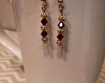 Garnet & gold Swarovski crystal drop earring- FSU Seminoles game day earrings
