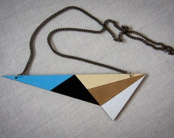 Statement necklace, geometric triangle necklace, laser cut triangular wooden necklace, handpainted with acrylic colors