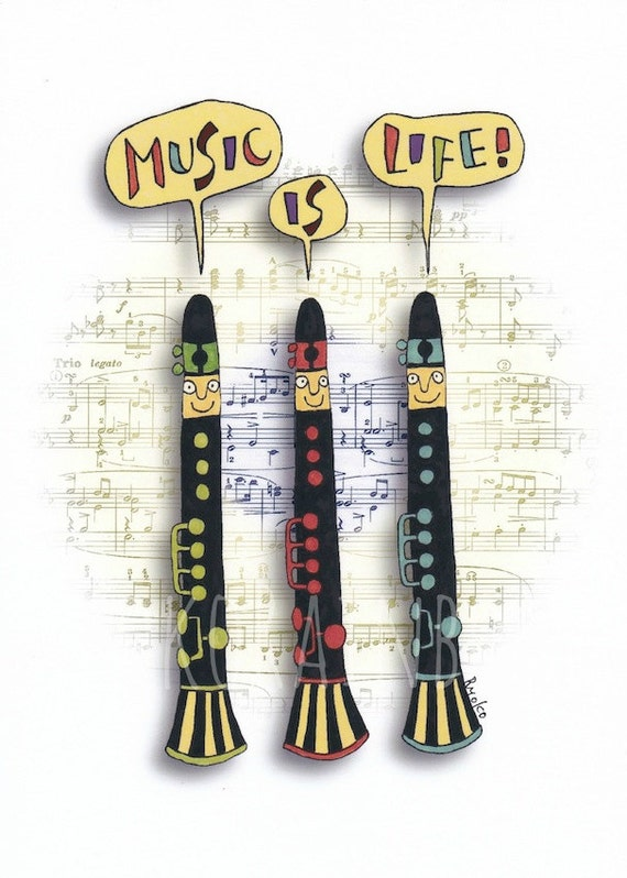 Music room decor music teacher gift clarinet print by for Room decor gifts