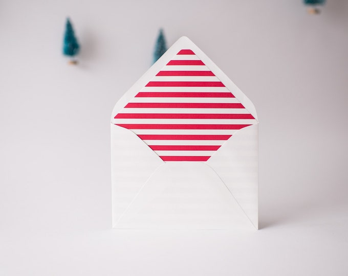 red horizontal stripe lined envelopes / christmas holiday envelope liners (sets of 10)