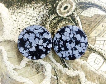Snowflake Obsidian Stone Plugs - Double Flared - 1 Pair - 6mm - 8mm - 10mm - 11mm - 12.7mm - 14mm - 16mm - 19mm - 22mm - 25mm