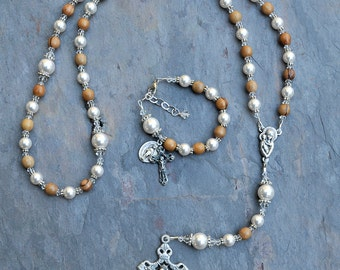 Mother Of Pearl Hand Carved Cross Necklace