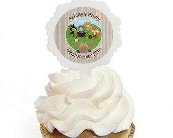 Woodland Cupcake Picks - Woodland Creatures Cupcake Decoration - Woodland Animals Baby Shower or Birthday Party Cupcake Decor - Set of 12
