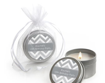 12 Gray Chevron Candle Tin Party Favors - Party Supplies for a Baby Shower, Birthday Party or Bridal Shower