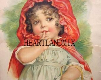 Little Red Riding Hood Maud Humphrey Illustration Vintage Digital Image