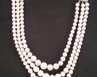 Vintage Lavender Triple Strand Pearls - 1960s/1970s