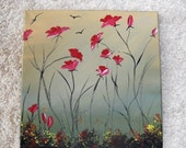 Red Poppy  Paintings Original Scenic Red Poppies Italy Tuscany Poppy Fields Red Green Orange Flowers For The Home For Ladies Room Wall Art