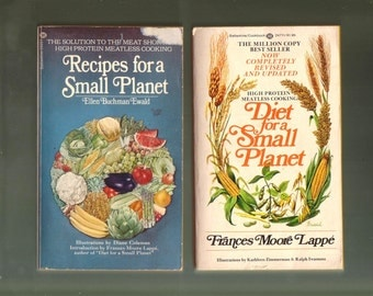 VINTAGE COOKBOOK SET Recipes for a Small Planet + Diet for a Small Planet.  Two Good Used Condition Paperbacks.