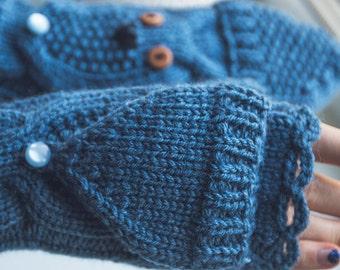 Convertible Gloves Mittens Hand Knittid Owl Mittens With Button Blue Winter Warm Fingerless gloves Mittens