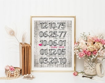 Customized Digital Print 16x20 8x10 DATES TO REMEMBER Rustic Oak Family Birth Marriage Art High Res Print Sign Wall Decor