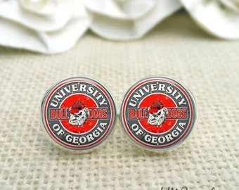 University of Georgia Earrings, Georgia Bulldog Earrings, UGA Jewelry, UGA Earrings