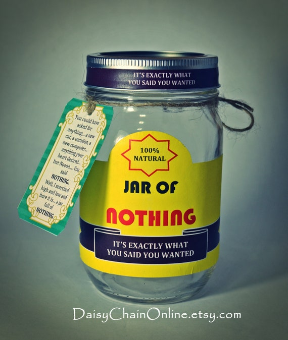 Printable labels for diy jar of nothing diy gag for Christmas gifts for 30 year old man