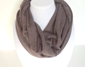 Knitted Infinity Scarf, Striped Infinity Scarf, Winter Scarf, Neutral Scarf
