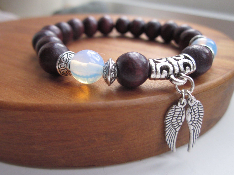 mens bracelet mens beaded bracelet wood bead bracelet angel. Black Bedroom Furniture Sets. Home Design Ideas